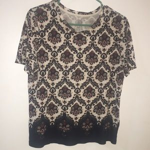 Tory Burch floral navy maroon puma cotton tee